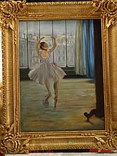 LARGE GICLEE ON CANVAS, BALLERINA, IN ORNATE GOLD FINISH FRAME, APPROX 45