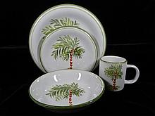26 PC GIBSON ELITE PALM MOTIF STONEWARE SERVICE, INCLUDES 6 PLATES, 6 SALAD, 6 BOWLS, 6 MUGS, CREAMER, SUGAR, EXCELLENT CONDITION, SKU 7496