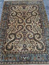 100% WOOL RUG, HAND KNOTTED, CREAM, GREEN, AND GOLD, MADE IN INDIA, APPROX 6.5' X 3.7' SKU489