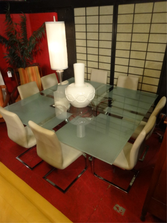 Modern Chrome And Glass Dining Set With 8 Chairs Square Glass Table Top Chrome Base And 8 Cantilever Chrome Chairs 6 X 6