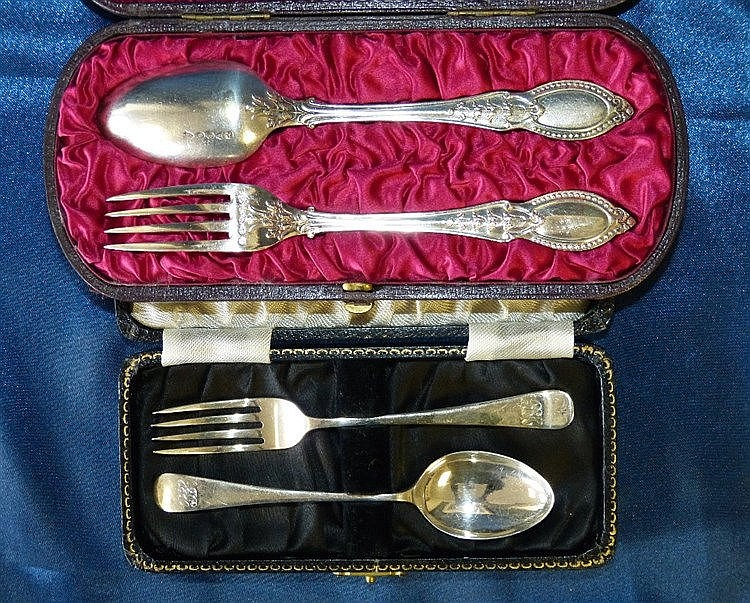 A Birmingham Silver Child's Fork and Spoon in black fitted case,