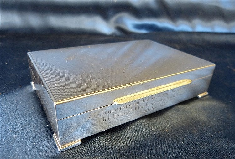An 835 Silver Coloured Metal with Rectangular Shape Cigarette Box
