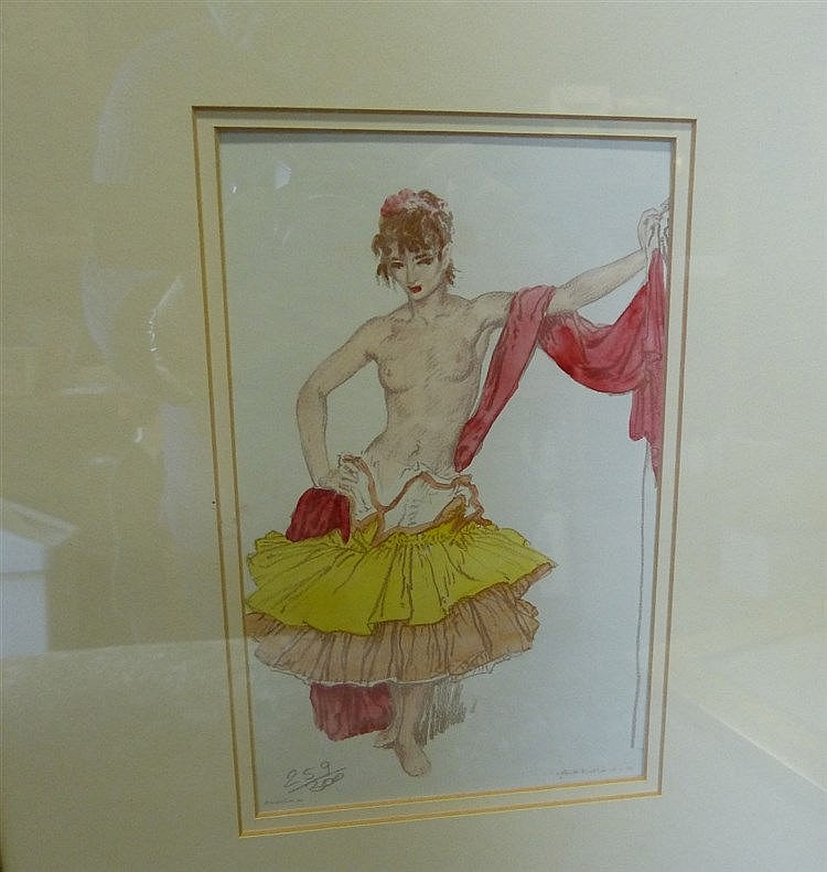 A Pair of Russell Flint Coloured Prints depicting half naked ladi
