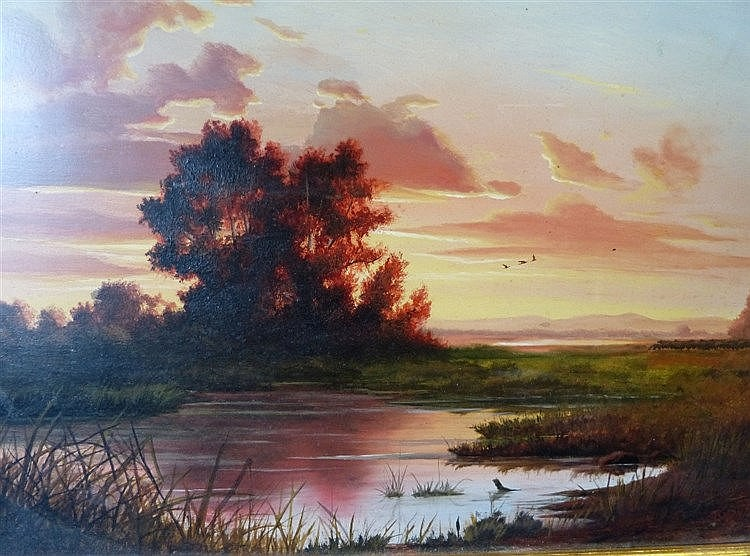 A Modern Oil on Board river landscape at sunset with farmer and s
