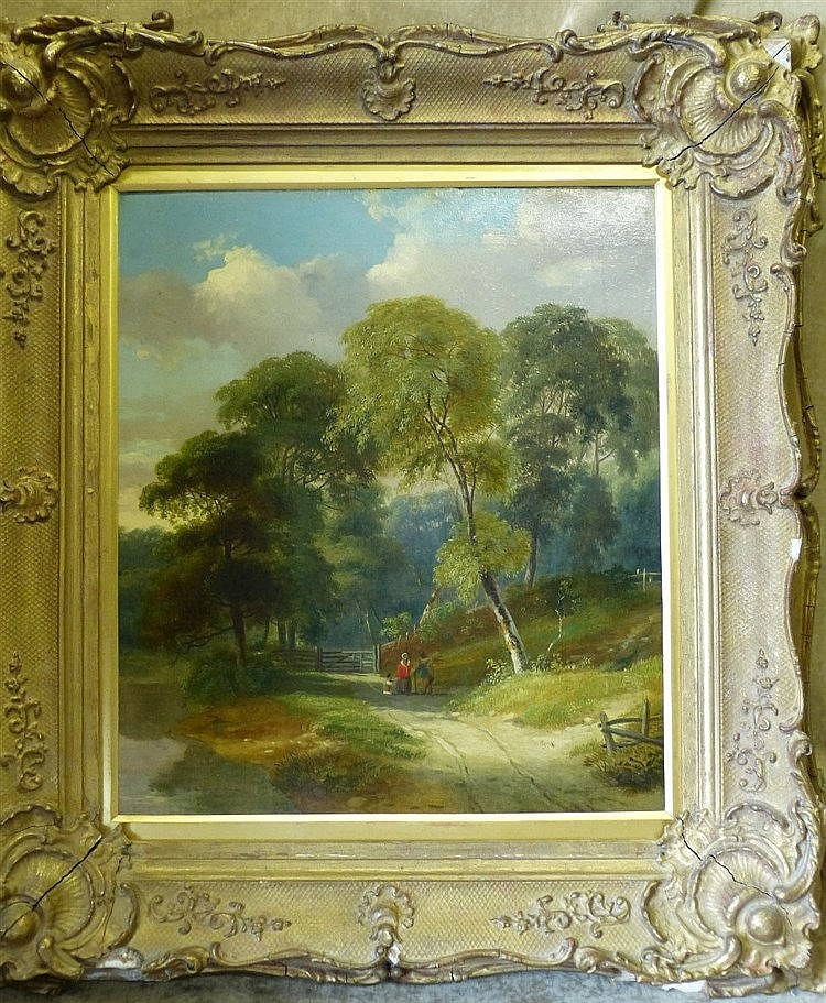 A 19th Century Oil on Canvas depicting figures on country path ne