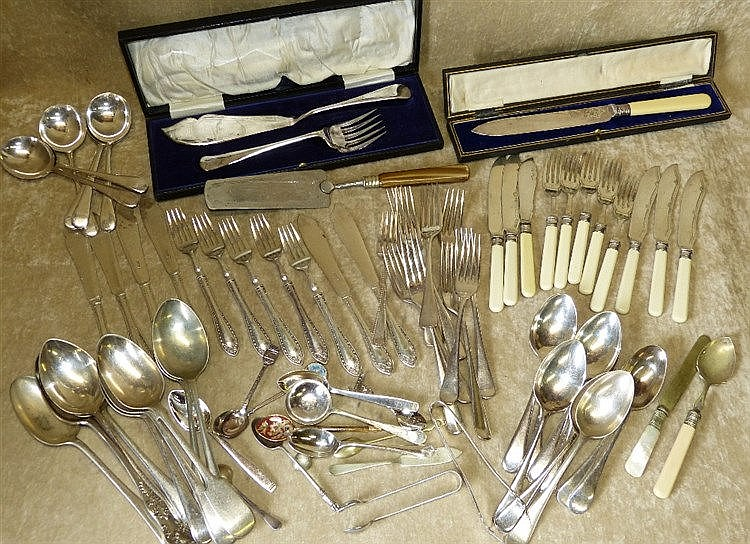A Pair of Silver Plated Fish Servers, Cased and a quantity of var