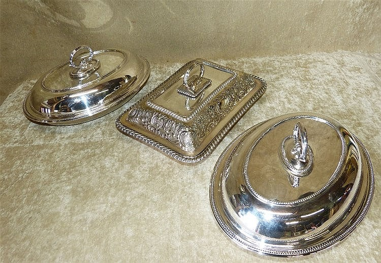 A Pair of Oval Silver Plated Entrée Dishes with covers having rai