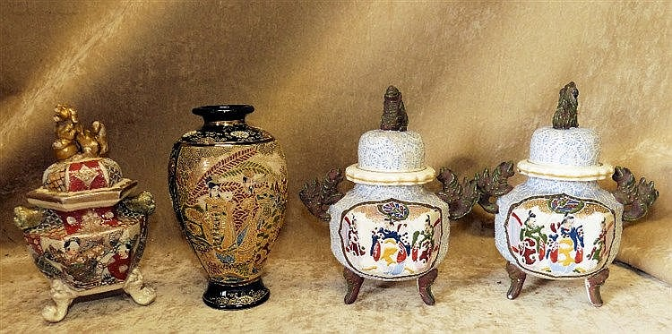A Pair of Oriental Glazed Earthenware Koro's with covers having m