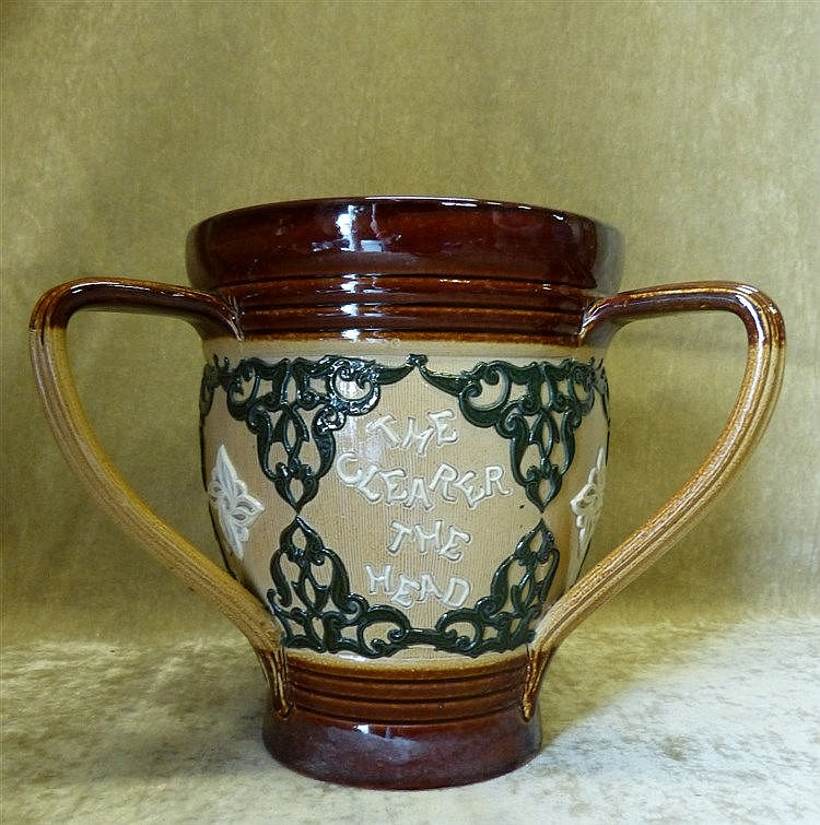 A Royal Doulton Glazed Stoneware Round 3-Handled Loving Cup