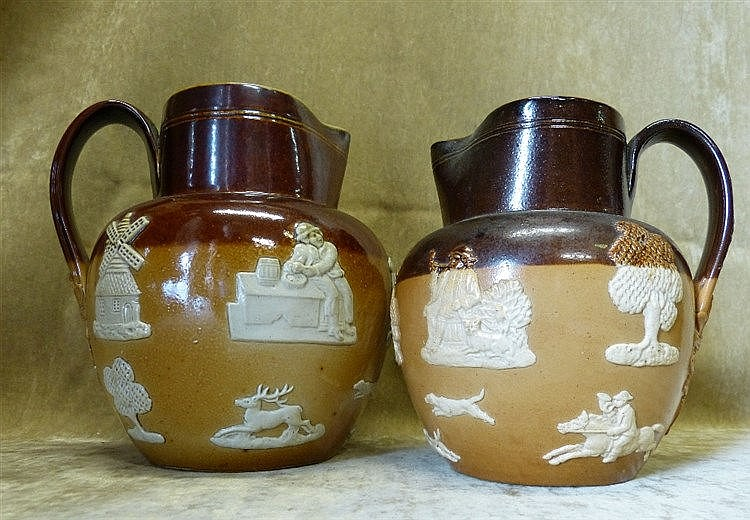 2 X Royal Doulton Glazed Stoneware Graduated Bulbous Hunting Jugs