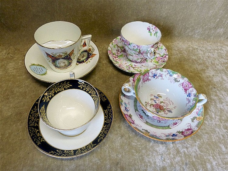 A Foley Victorian Coronation Moustache Cup and Saucer, also a She