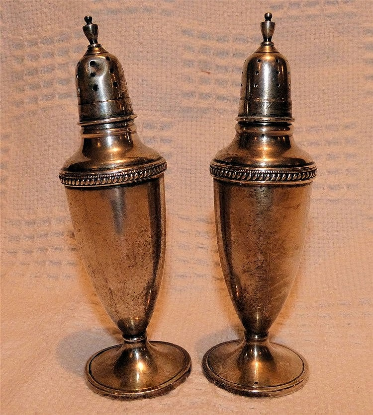 A Pair of Sterling Silver Bulbous Large Salt & Peppers Pots on sw