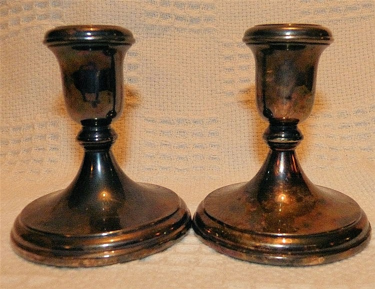 A Pair of Modern London Silver Dwarf Candlesticks on turned stems