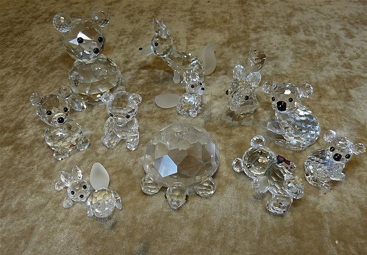 11 x Swarovski Crystal Animals, foxes, squirrel, Teddy bear, tort
