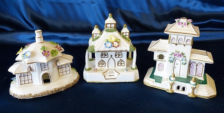 3 Coalport Pastel Burners in form of buildings