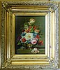 A Modern Oil on Board, Still Life Vase of Flowers in gilt frame,