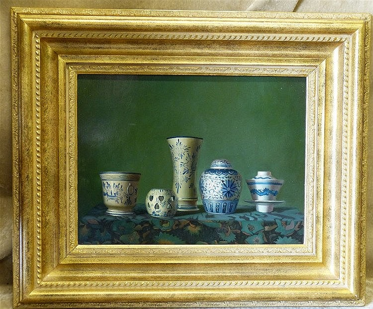 A Modern Oil on Board, Still Life Shelf of Blue and White China,