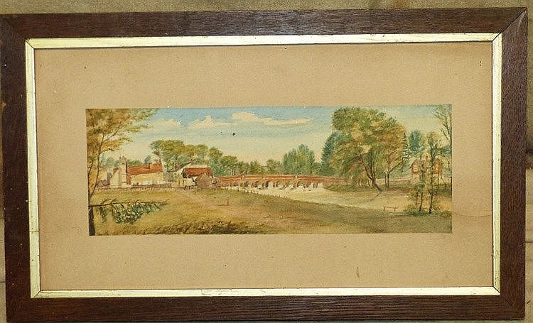 A Watercolour depicting figure on tow path having arched bridge a