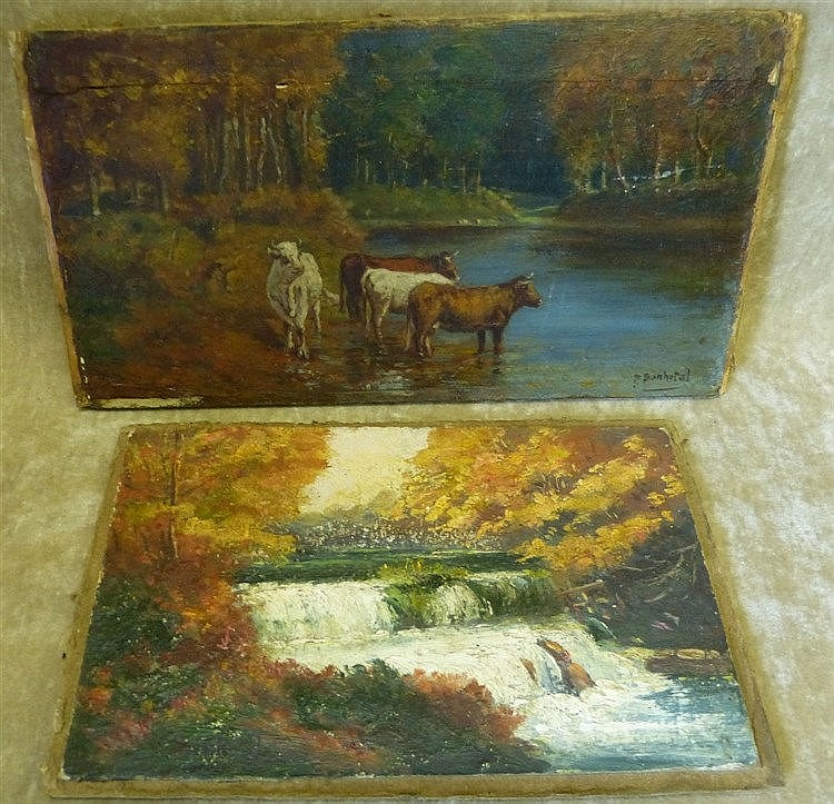 P Bonhotal Small Oil on Panel depicting Cattle on water's edge si