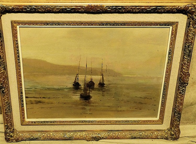 Connell Marine Oil on Canvas depicting 4 x sailing boats at low t