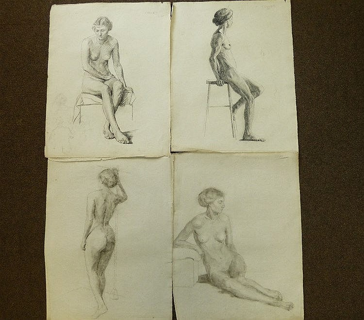Colles, 8 Early 20th Century Charcoal Sketches depicting female n