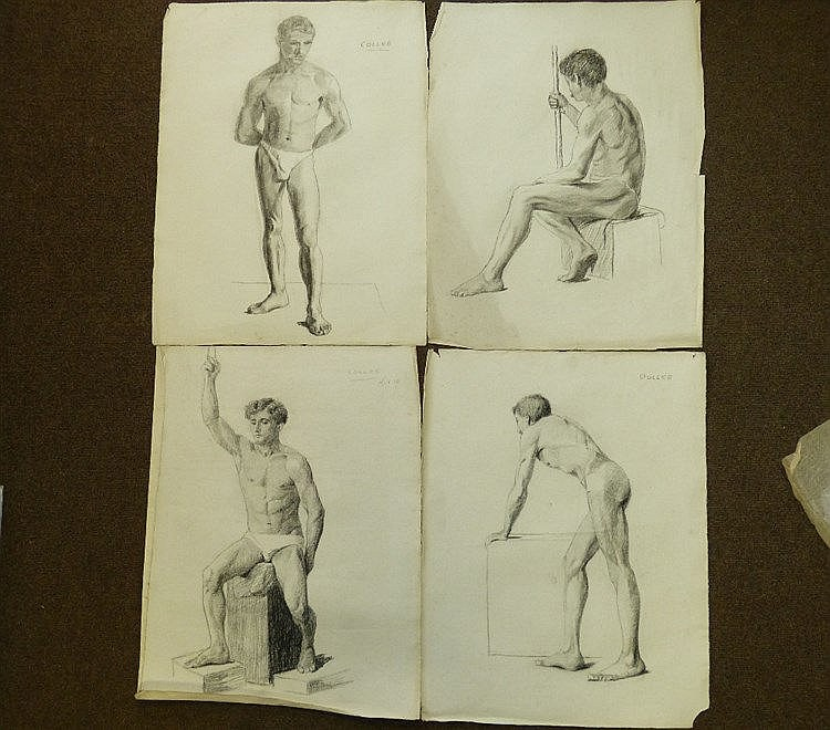 Colles, 8 Early 20th Century Charcoal and Pencil Sketches Portrai