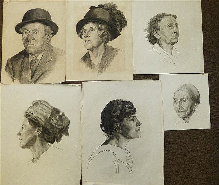 Colles, 11 Early 20th Century Charcoal and Pencil Sketches should