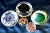 A 1952 Coronation Paperweight and 4 other similar Millefiori styl