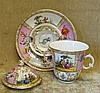 A Meissen Dresden 2-Handled Lidded Cup with saucer having pierced