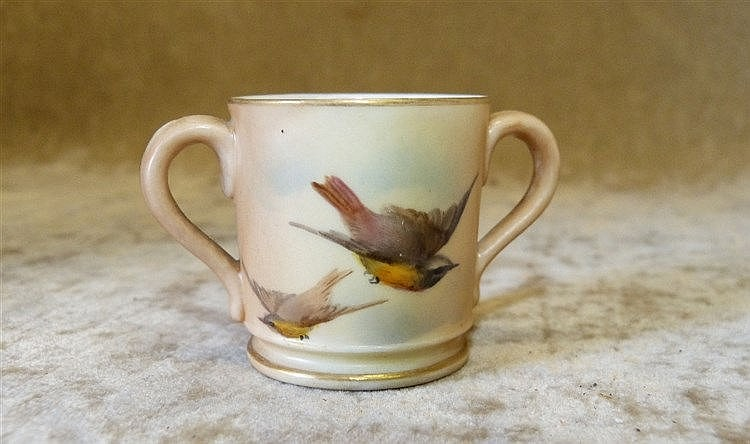 A Royal Worcester Blush 2-Handled Miniature Cup having hand paint