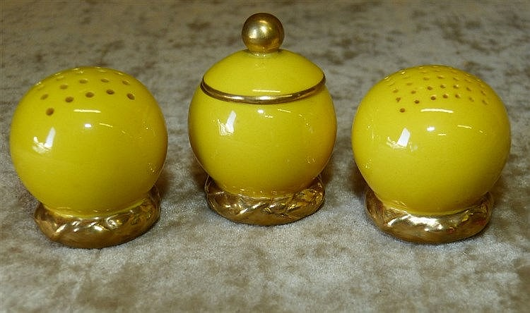 A Set of 3 Royal Worcester Bulbous Shape Condiments on yellow gro