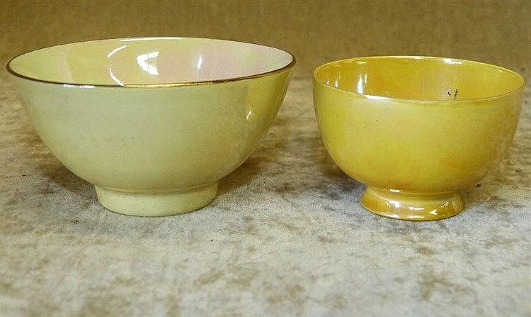 A Ruskin Miniature Tea Bowl on yellow ground, 6cm diameter, also