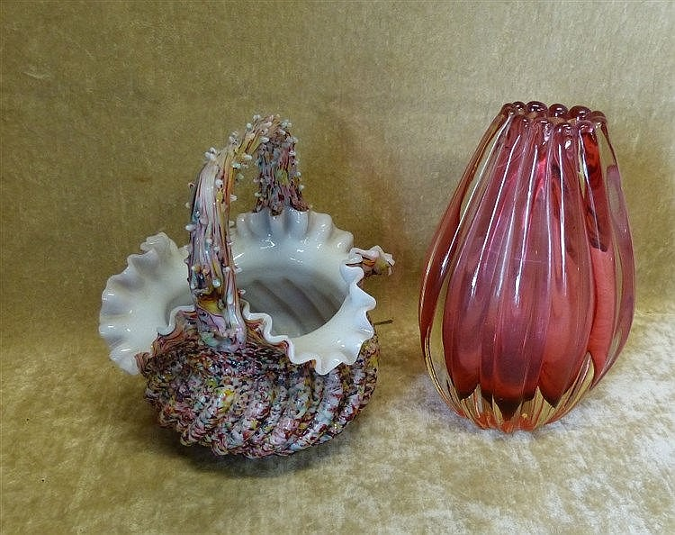 A Ruby Glass Oval Fluted Vase, 17.5cm high also a Victorian glass
