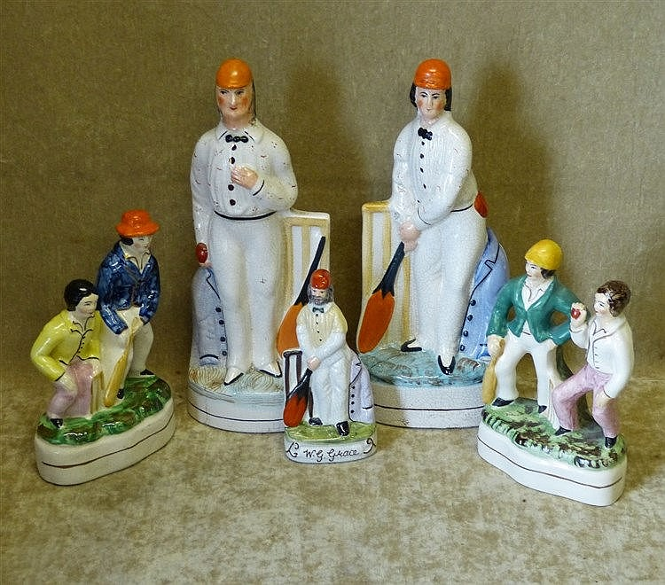 5 x Modern Staffordshire Figures of cricketers, largest 26cm high