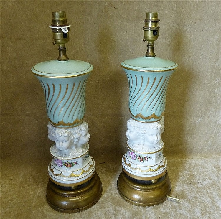 A Pair of Continental China Table Lamps having raised figurehead