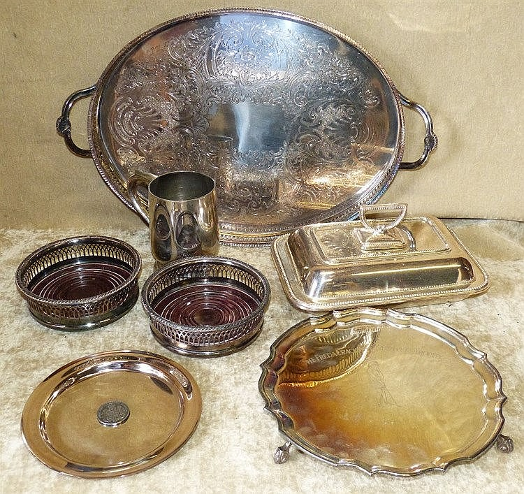 A Pair of Silver Plated Wine Coasters having pierced gallery's, a