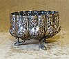 An Eastern Silver Coloured Metal Bulbous Shape Sugar Bowl having