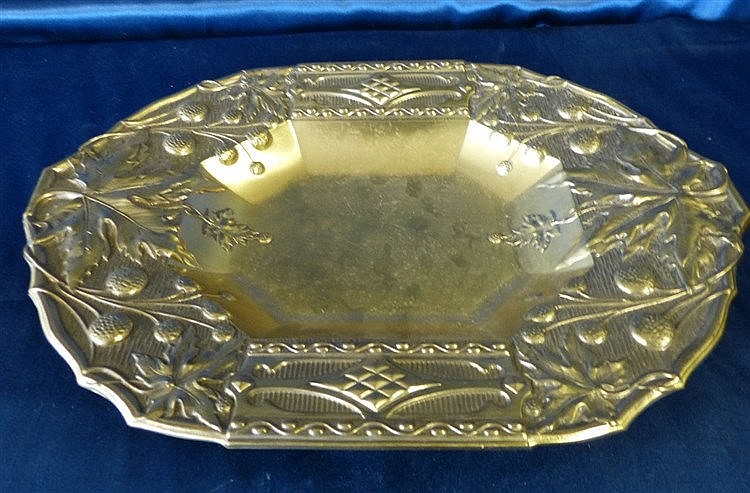 A Gilt Metal Rectangular Shape Bowl having embossed fruit and lea