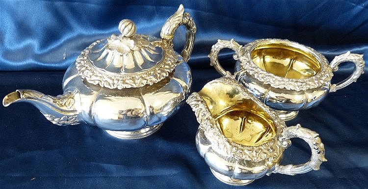 A Scottish George IV Silver Bulbous 3-Piece Tea Service having ra