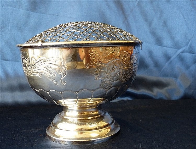 A Modern Silver Rose Bowl with mesh top, embossed floral, leaf an