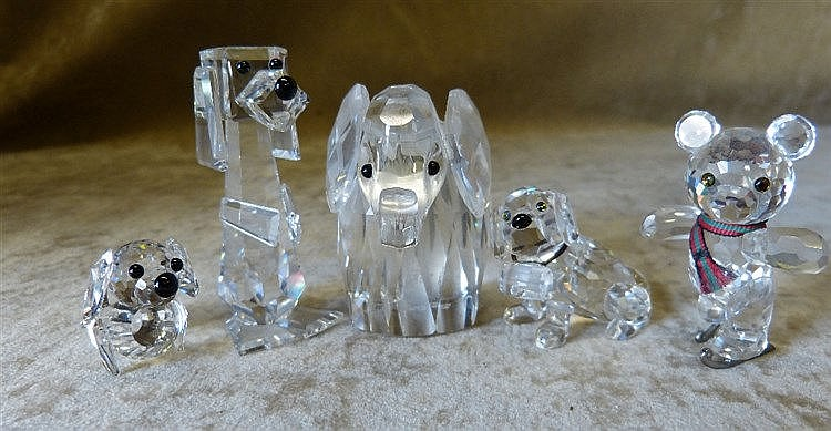 5 x Swarovski Crystal Dogs, Elephant and Ice Skating Bear, all bo