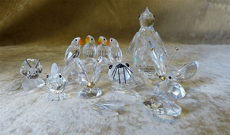 7 x Swarovski Crystal Birds, Butterfly and Penguin, all boxed (2