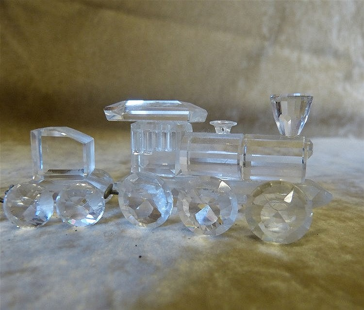 A Swarovski Crystal 2-Section Train (boxed) and 2 x Swarovski cry