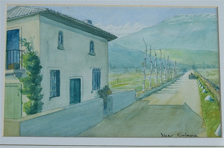 A Continental Watercolour depicting building on roadway