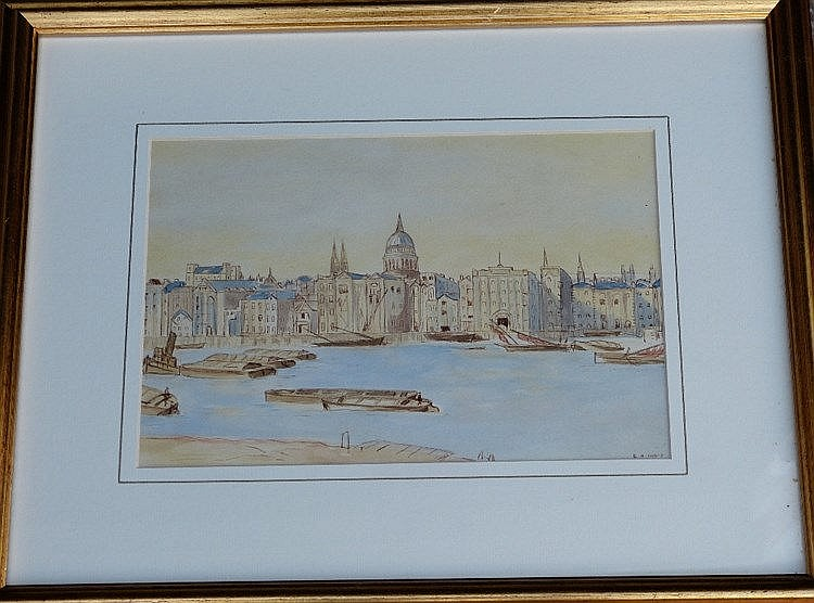 N Frost Watercolour depicting barges on river with city on other