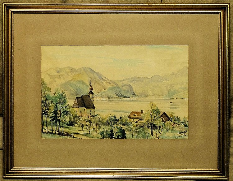 Exmer? Continental Watercolour depicting river landscape with chu