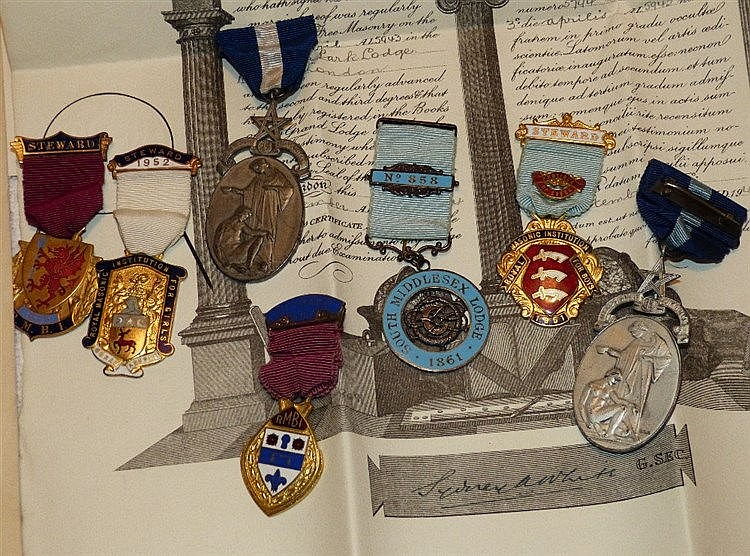 2 Silver Masonic Medals and 5 other Masonic medals with various p