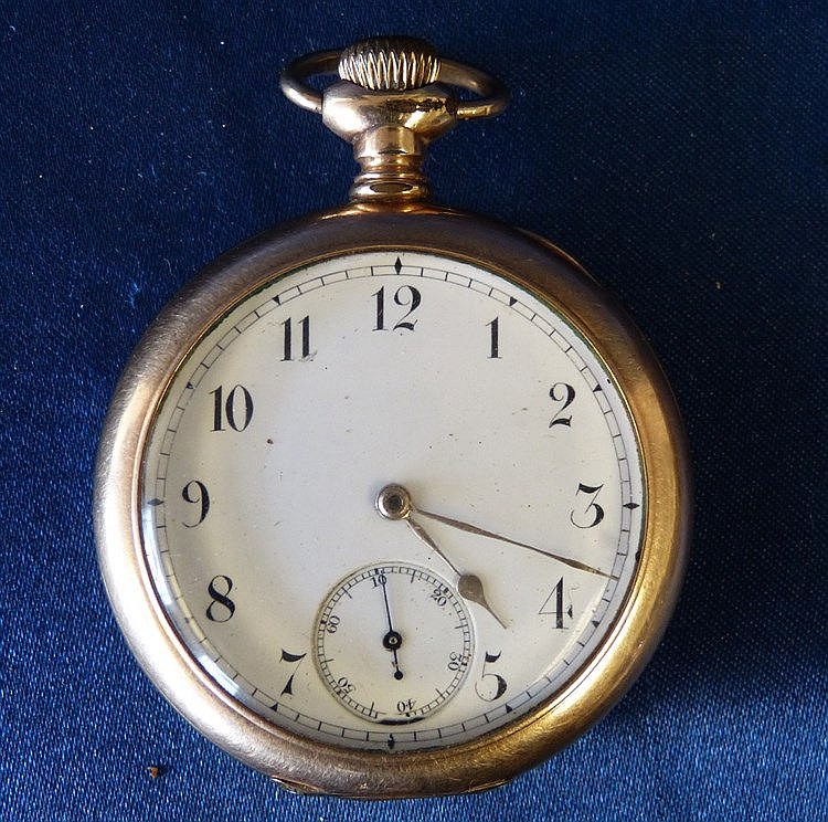 A Waltham Gold Plated Open Face Pocket Watch having white enamel