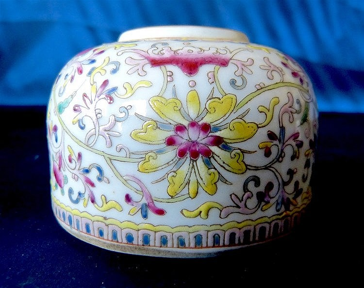 An Oriental Small Bulbous Water Holder having multicoloured flora