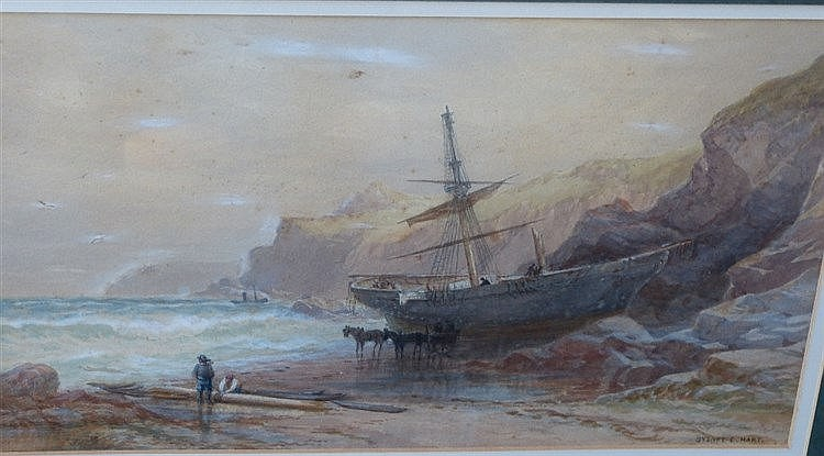 Sydney Ernest Hart Watercolour depicting ship ran aground on shor